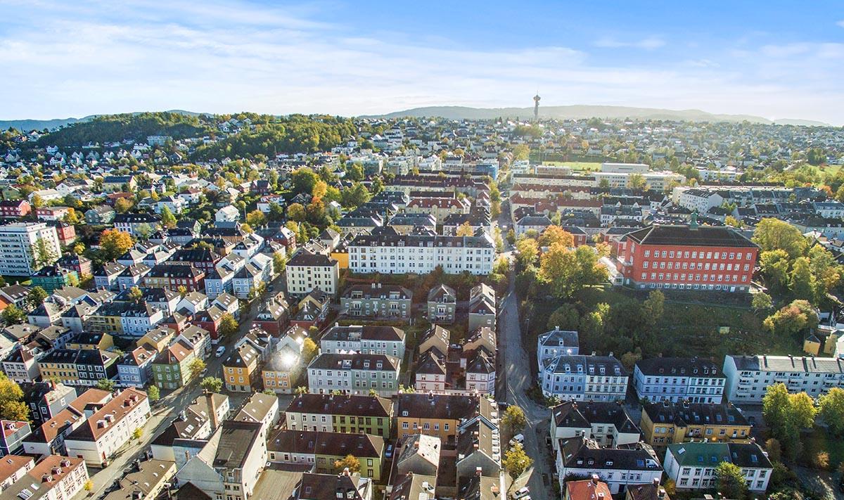 Dronefoto Møllenberg, Trondheim
