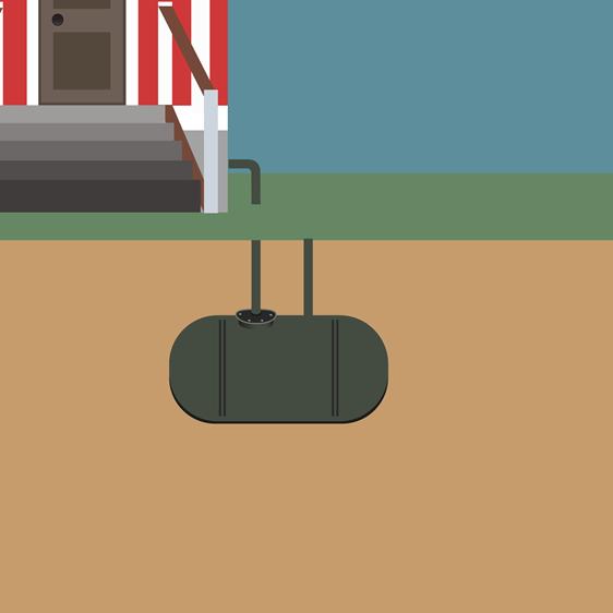 Illustrasjon av oljetank under jorda