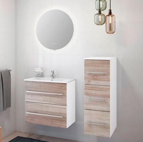 Bilde av smalt baderomsmøbel og rundt speil